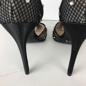 Betsey Johnson Shoes - Betsey Johnson Black Fish Net Rhinestone Heels